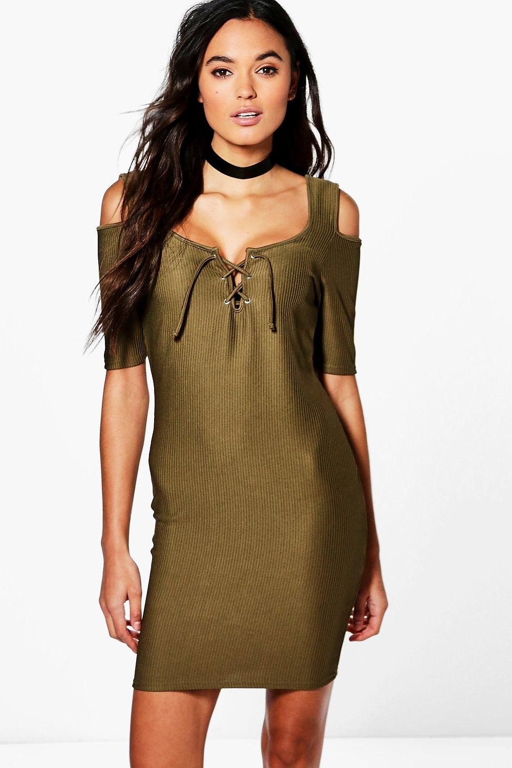 Prue Lace Up Cold Shoulder Bodycon Dress