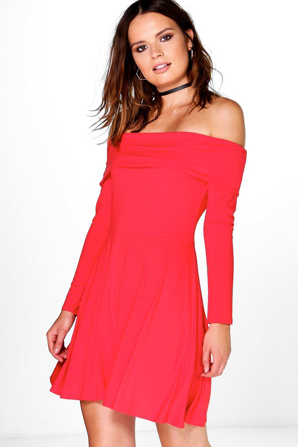 Chelsea Off Shoulder Skater Dress