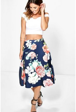 Nia Large Dark Floral Full Midi Skirt