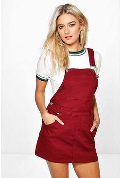 Hollie Burgundy Denim Dungaree Pinafore