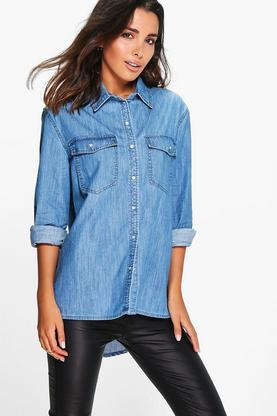 Astrid Dip Backed Denim Shirt