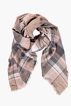 Polly Tartan Check Oversized Wrap Scarf