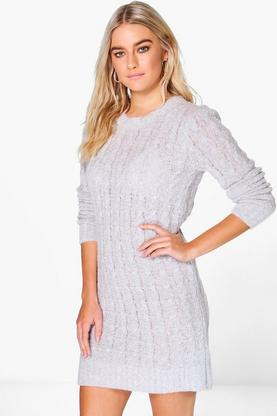 Mollie Boucle Cable Knit Dress