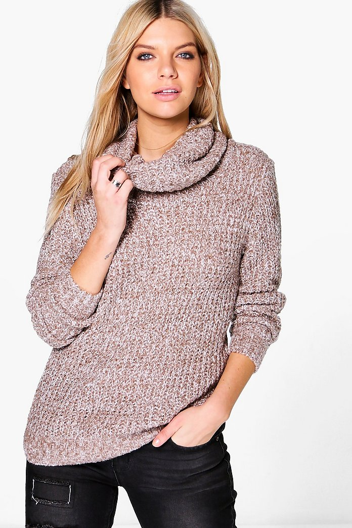 Bethany Marl Cowl Neck Boucle Knit Jumper