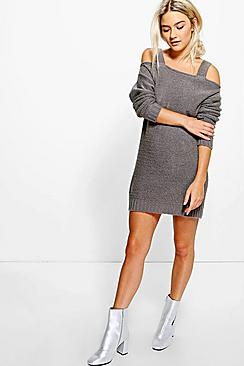 Annabelle Strap Open Shoulder Soft Knit Dress