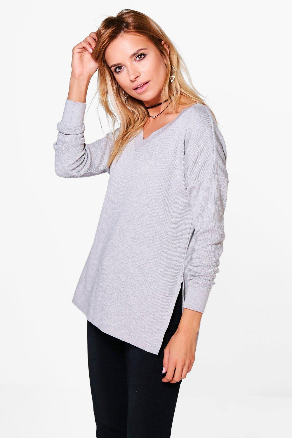 Esme Side Split Rib Knit Oversized Jumper