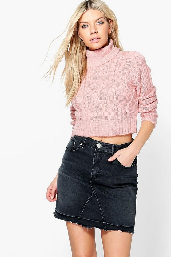 Keira Cable Knit Turtle Neck Crop Jumper