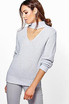 Lily Choker Detail Turn Up Cuff Jumper