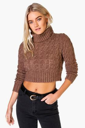 Nicole Roll Neck Cable Soft Knit Crop Jumper