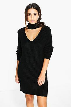 Maddison Choker Strap Soft Knit Jumper Dress
