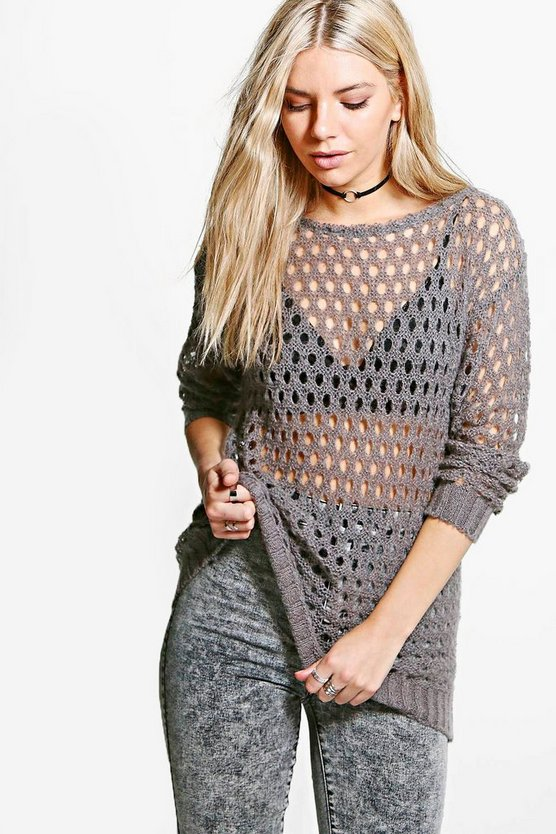 Isabelle Slash Neck Asymmetric Loose Stitch Jumper