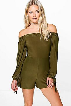boohoo female amy off the shoulder split sleeve playsuit