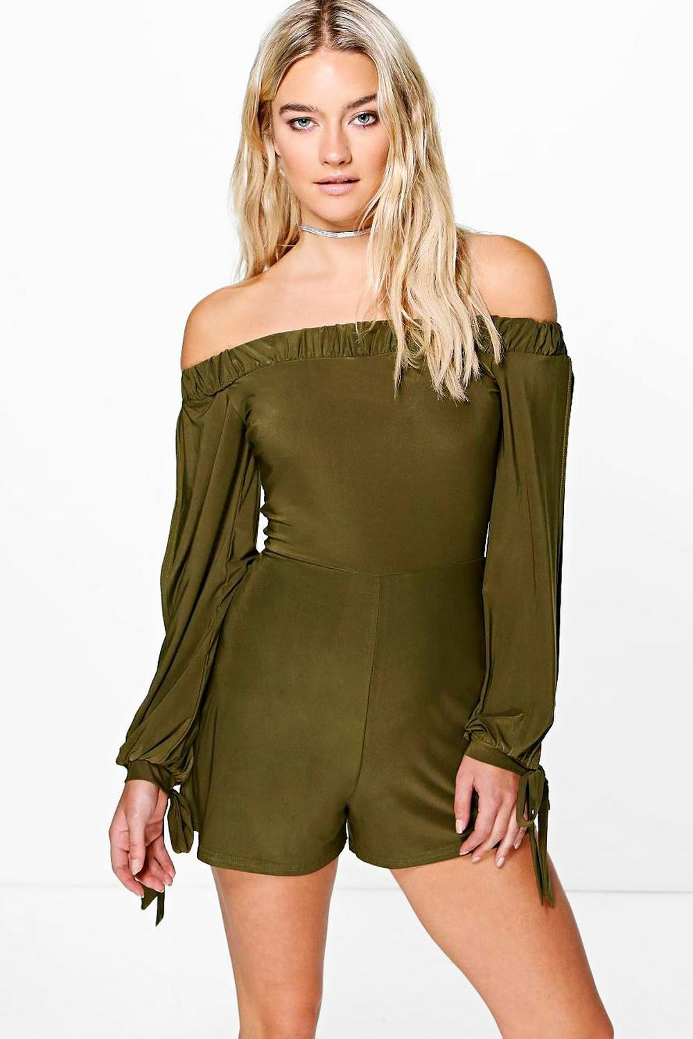 Amy Off The Shoulder Split Sleeve Playsuit