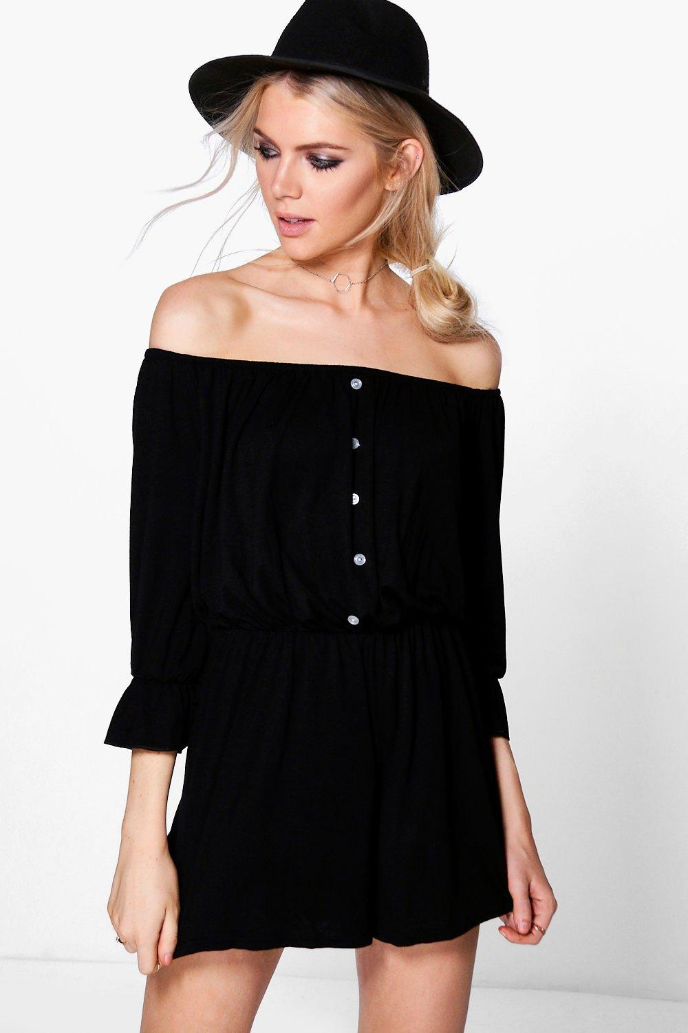Katie Button Front Ruffle Sleeve Playsuit
