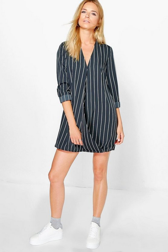 Rosie Striped Wrap Shirt Dress