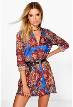 Jessica Border Paisley Wrap Shirt Dress