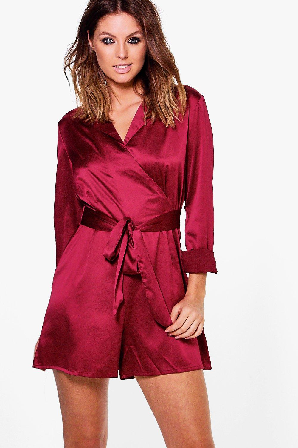 Rose Long Sleeved Wrap Front Satin Playsuit