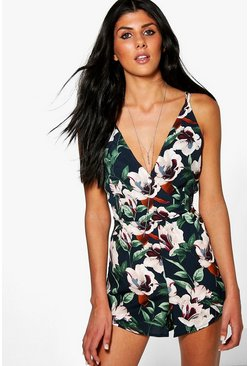 Jen Floral Print Strappy Back Plunge Playsuit