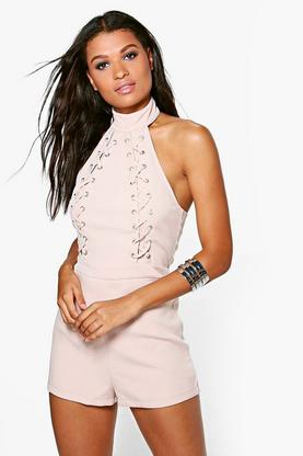 Lois High Neck Lace Up Detail Open Back Playsuit