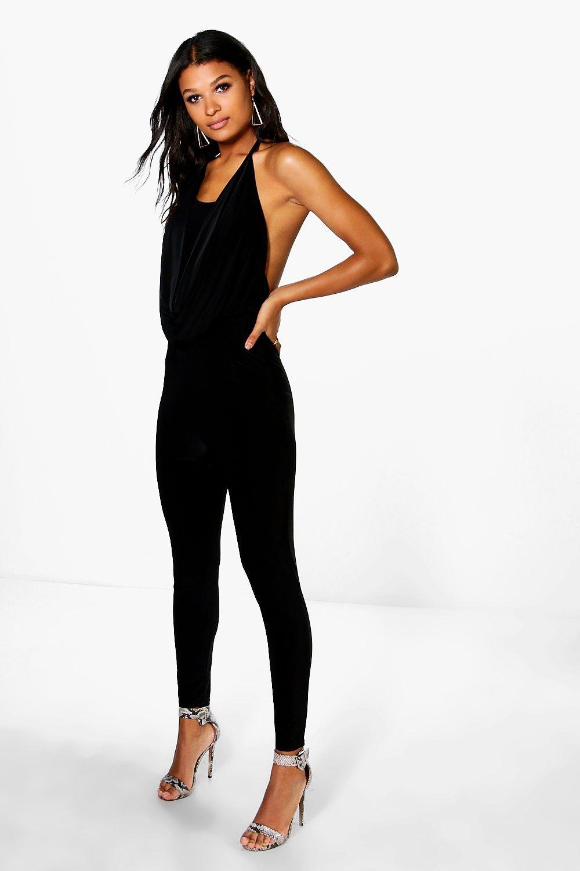 boohoo Cowl Neck Skinny Leg Jumpsuit - black