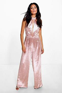 Emily Satin Split Front Wide Leg Jumpsuit