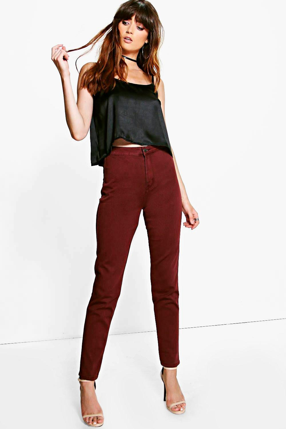High Rise Berry Denim Tube Jeans berry