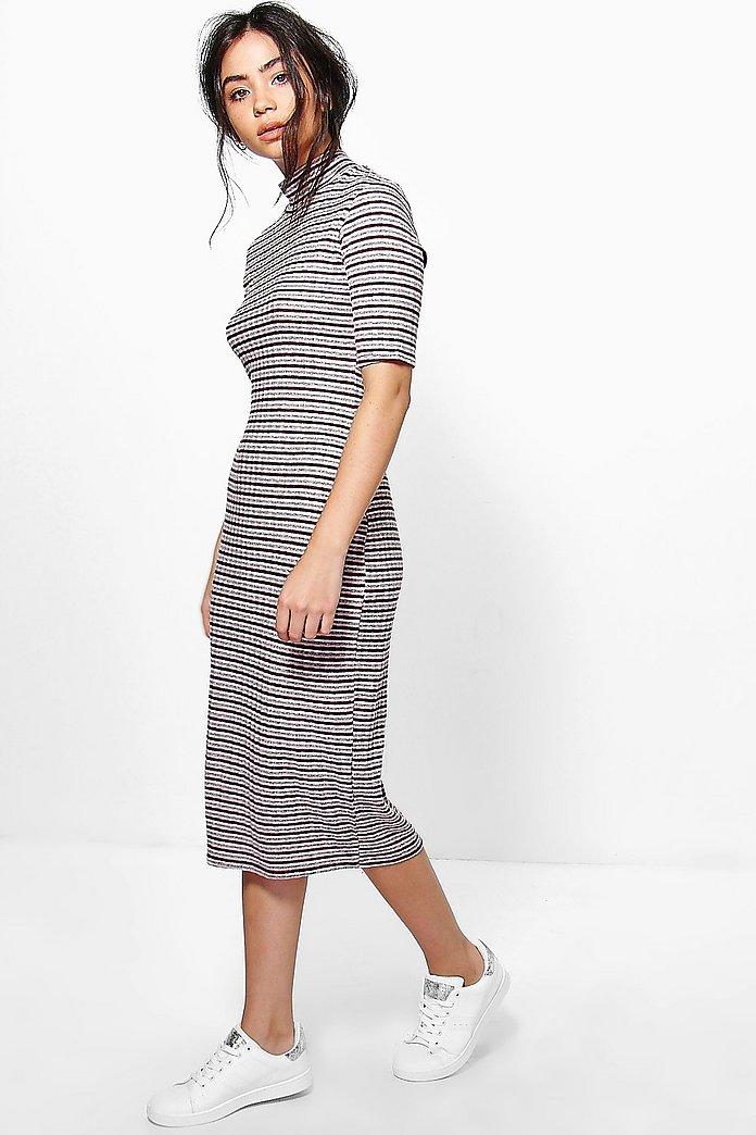 Orla Turtle Neck Striped Rib Midi Dress