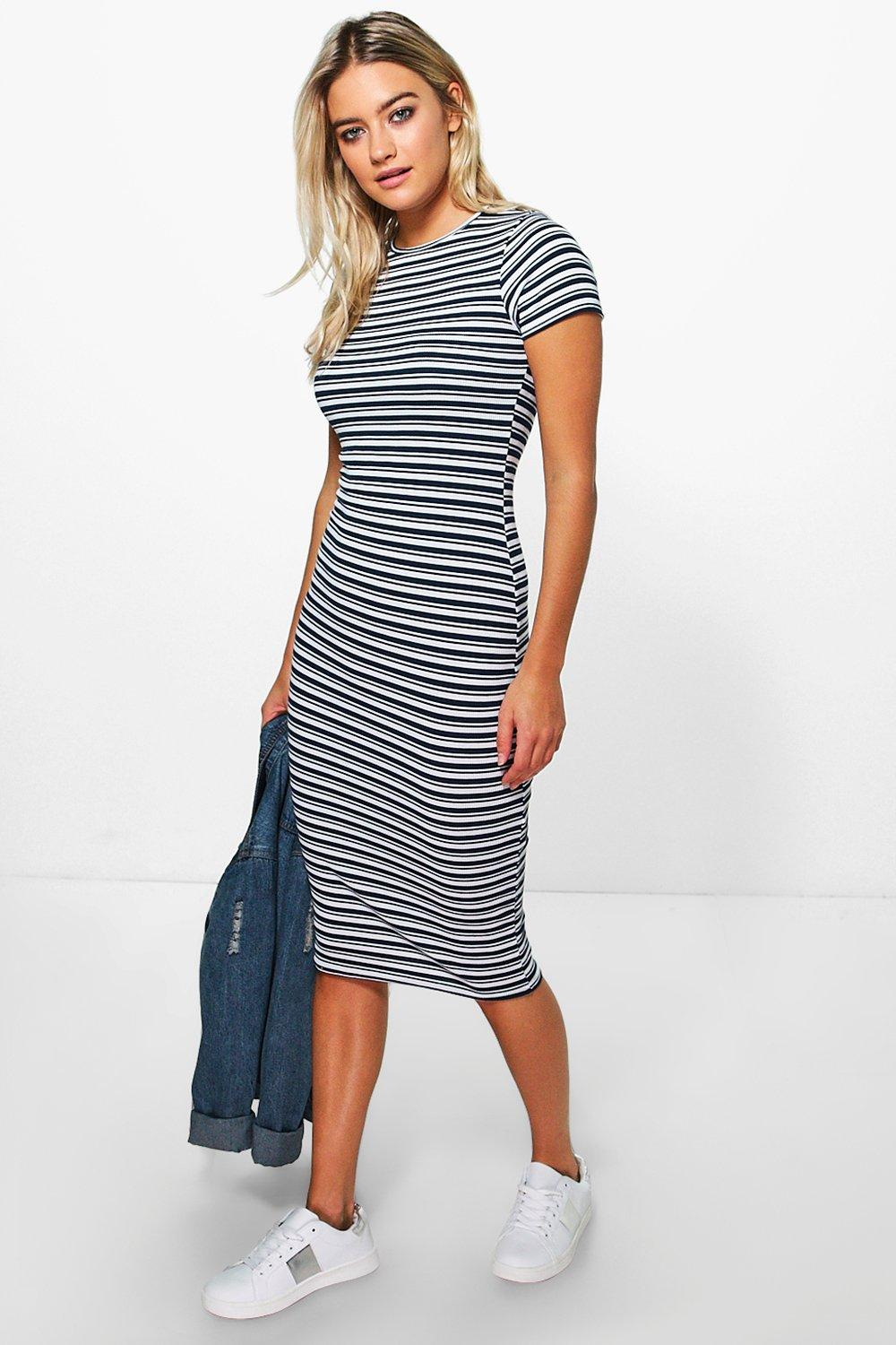 Isla Cap Sleeve Stripe Midi Rib Dress