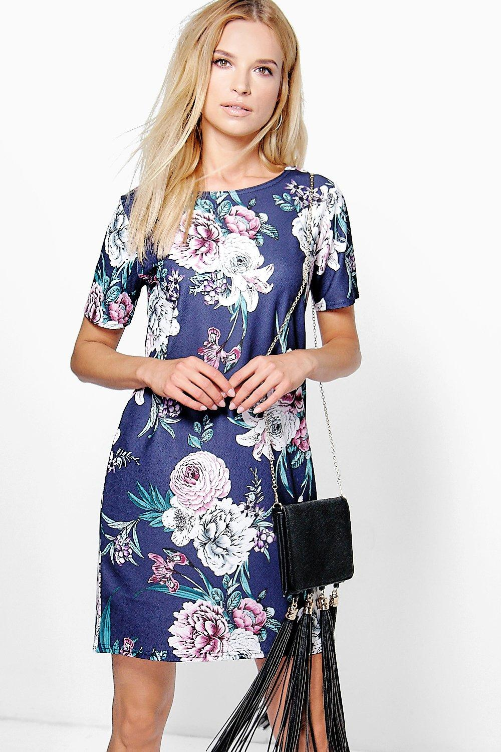 Una Floral Cap Sleeve Shift Dress