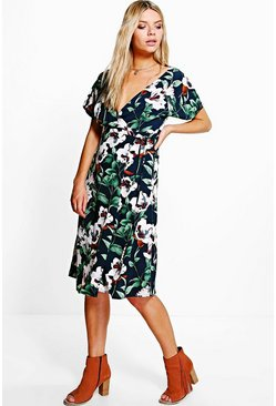 Em Fluted Sleeve Floral Printed Wrap Dress