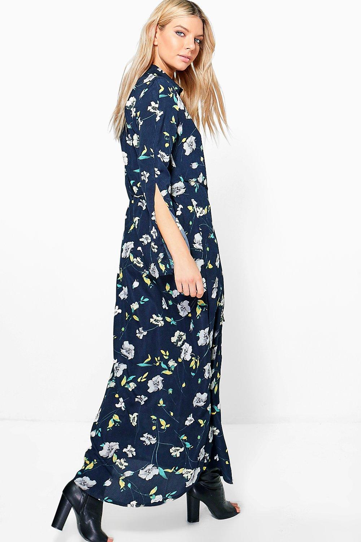 Angela Floral Maxi Shirt Dress | Boohoo