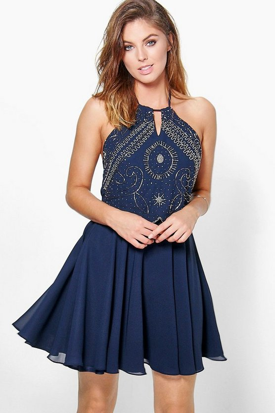 Boutique Alessya Embellished Scallop Skater Dress