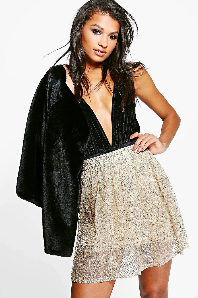 Boutique Giselle Glitter Mesh Full Skater Skirt