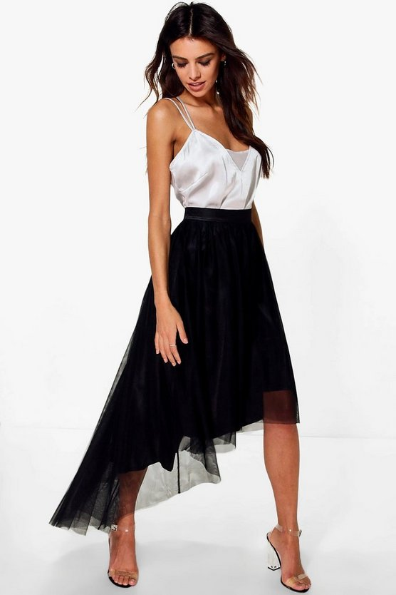 Ava Dipped Hem Tulle Full Midi Skirt