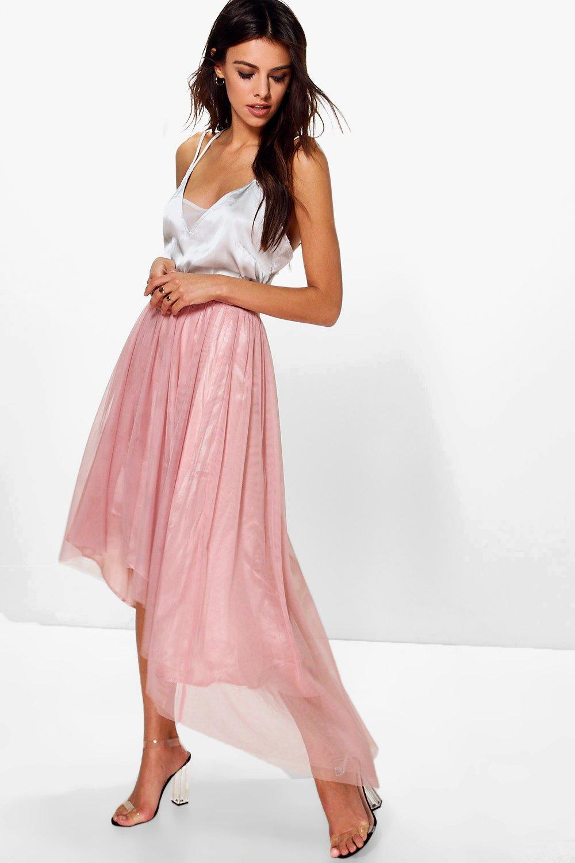 boohoo Dipped Hem Tulle Full Midi Skirt - blush