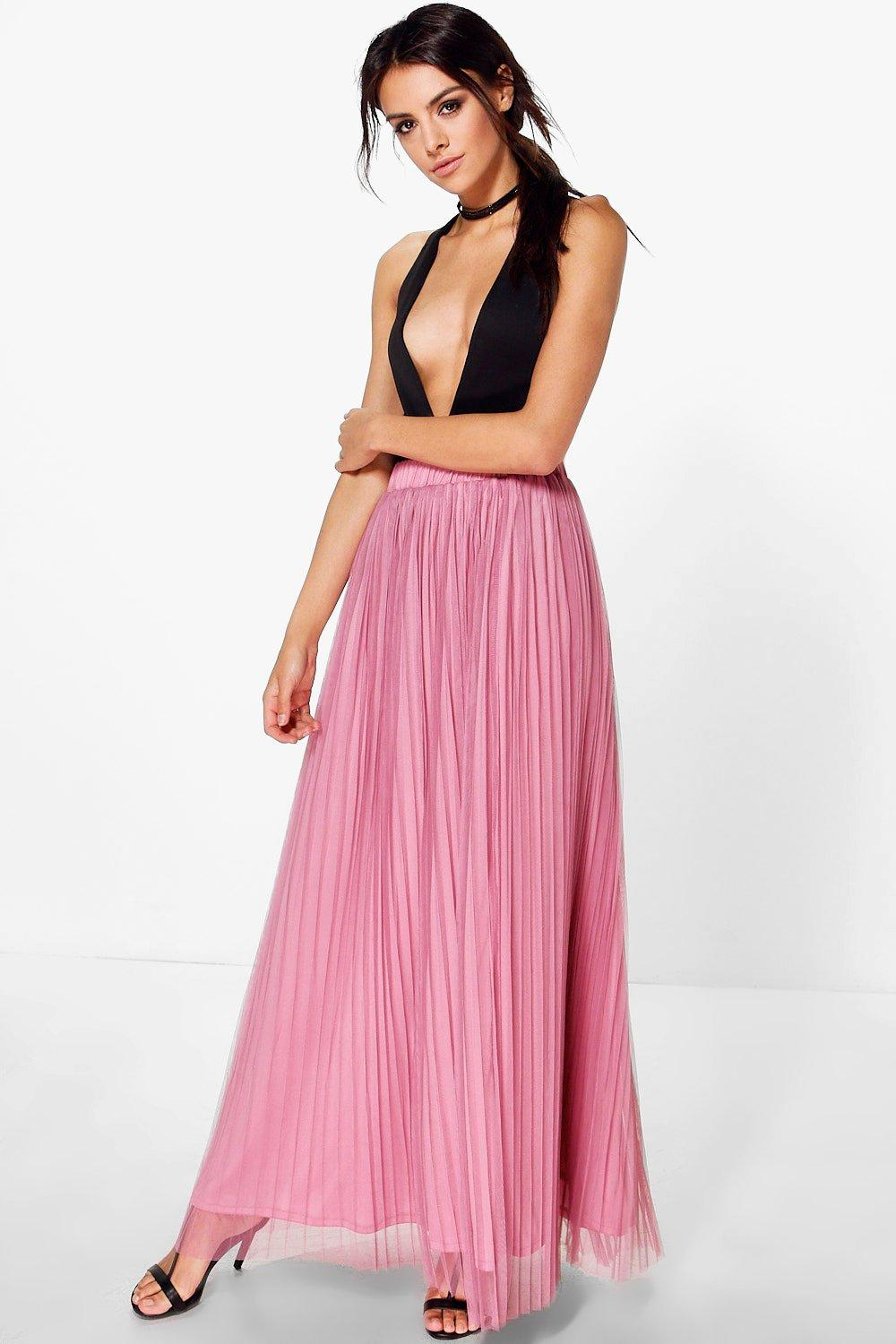 Boutique Madison Pleated Tulle Midi Skirt
