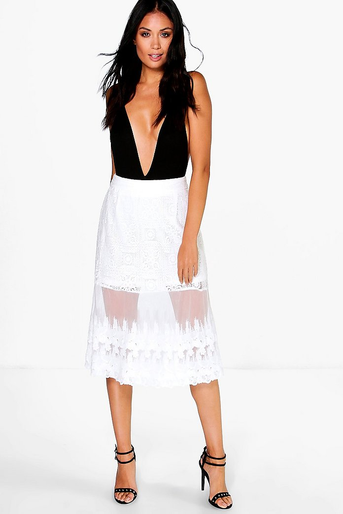 Aria Embroidered Tulle Lace Miid Skirt