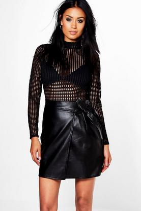 Priya Tie Front Asymetric Leather Look Mini Skirt