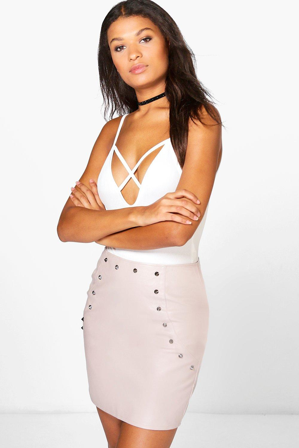 Stud Front Leather Look A Line Skirt  taupe