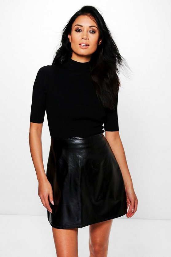 Orianna Metallic Leather Look A Line Mini Skirt