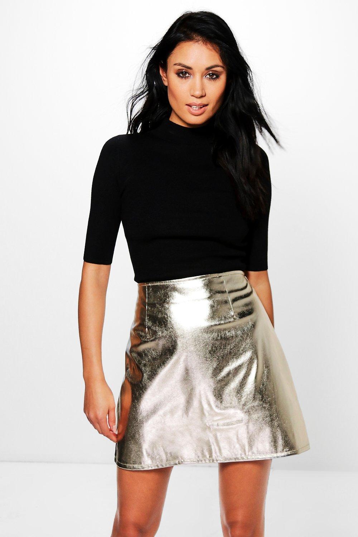 Metallic Leather Look A Line Mini Skirt - gold