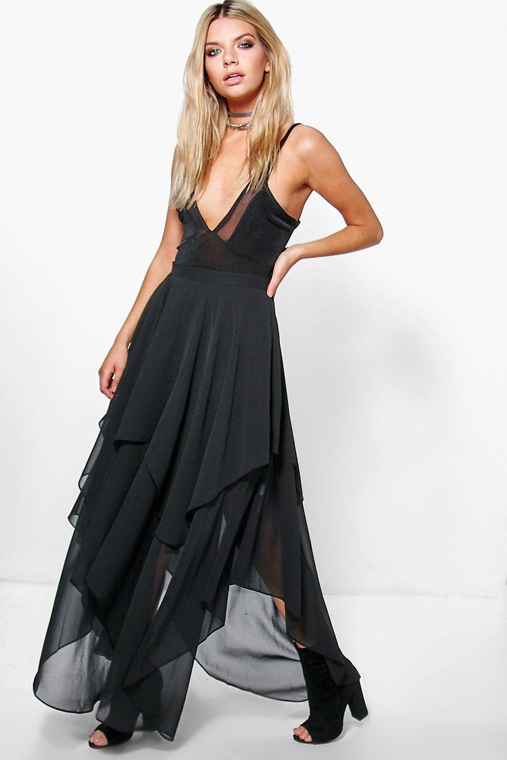 ruffle hem high low chiffon maxi skirt boohoo