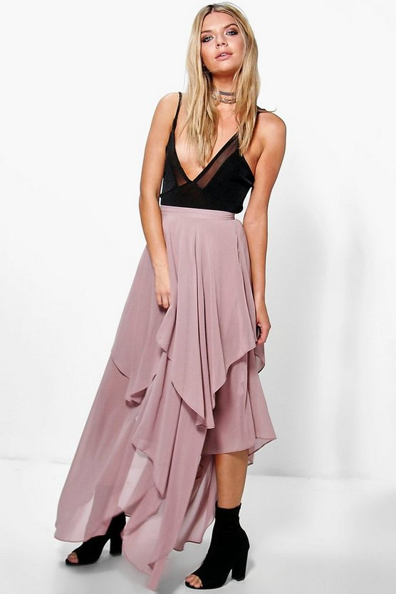 Ruffle Hem High Low Chiffon Maxi Skirt