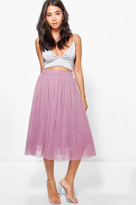 boohoo Fine Pleated Tulle Midi Skirt - mauve