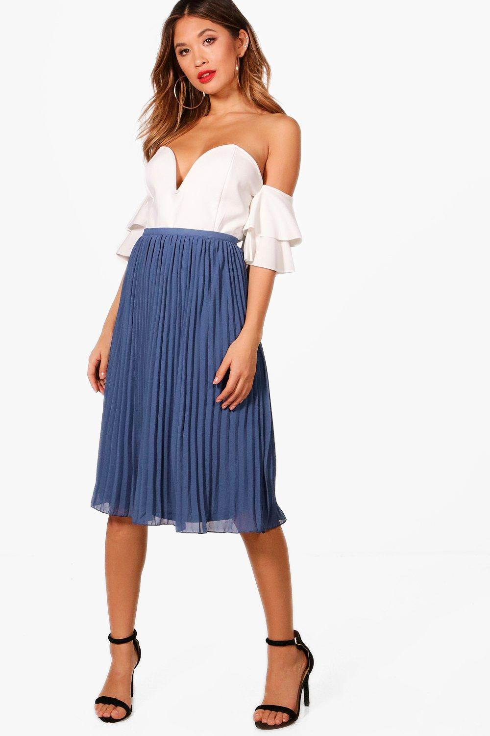 Savannah Chiffon Pleated Midi Skirt | Boohoo