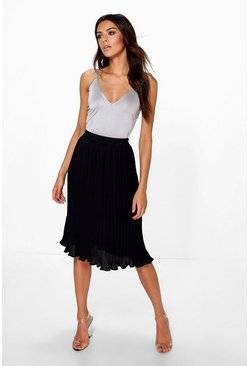 Mya Chiffon Pleated Midi Skirt