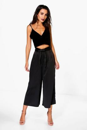 Priya Satin Bow Detail Wide Leg Culottes
