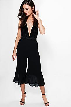 Lua Pleated Hem Detail Wide Leg Culottes