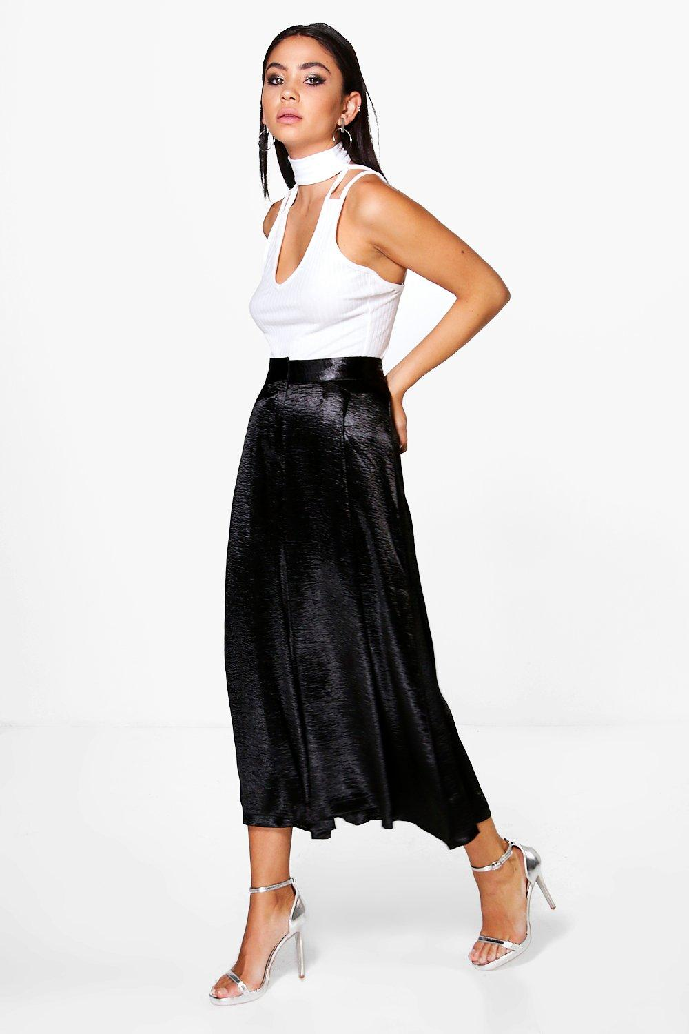 Amelle Pleat Front Tailored Satin Culottes