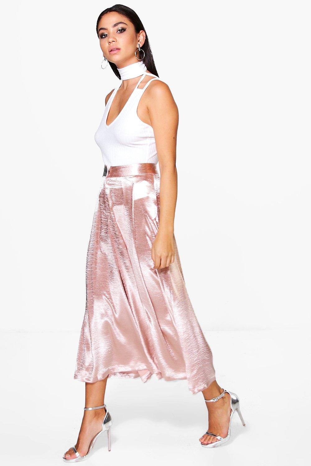 boohoo Pleat Front Tailored Satin Culottes - blush